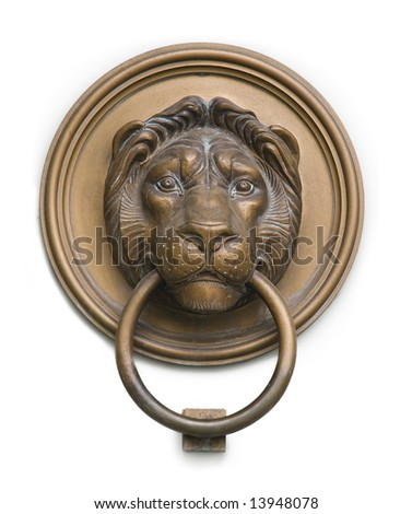 lionhead knocker found on a door of a classical mansion in Budapest - stock photo