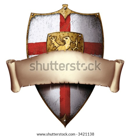 lionheart templar shield with lion and cross with parchment banner - stock photo