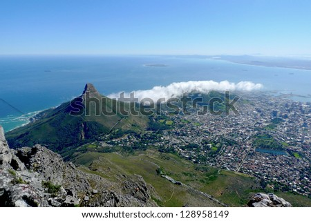 Lions Head and Cape Town, South Africa, view from the top of Table Mountain. - stock photo