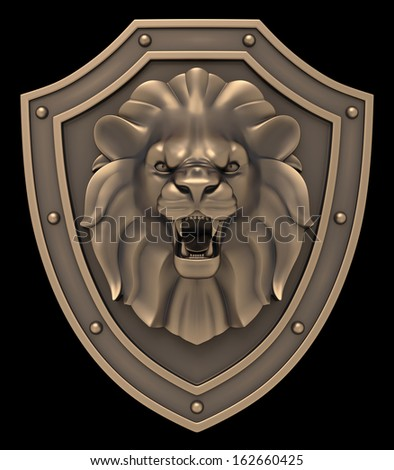 Lions Head Blazon. Bronze sculpture of a lion head on medieval shield, isolated on black background. 3D rendered image. - stock photo
