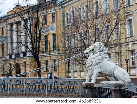 Lions on Lion bridge in St. Petersburg