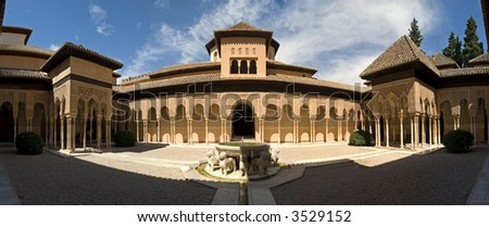 Lions Patio in Alhambra - stock photo