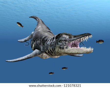 Liopleurodon While Hunting Computer generated 3D illustration - stock photo