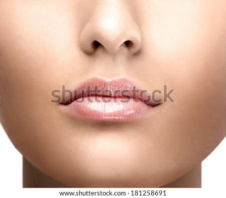 lip gloss girl's face - stock photo