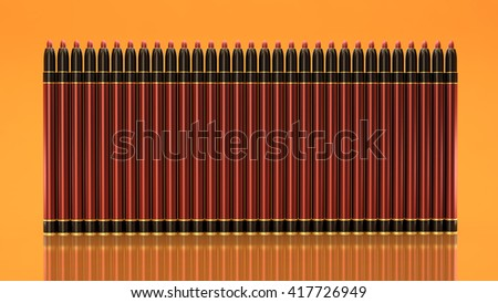 Lip pencils on a yellow background. Bottle, style, makeup, lips, beauty, make-up, facials. Cosmetics. 3D rendering - stock photo