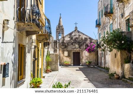 Lipari authentic old town church. Italy touristic places. - stock photo