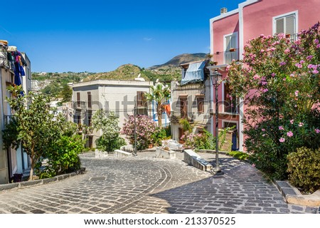 Lipari colorful old town streets. Sicily, Italy touristic places. - stock photo