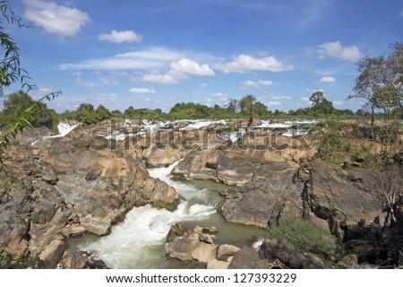 Liphi waterfalls in Laos - stock photo