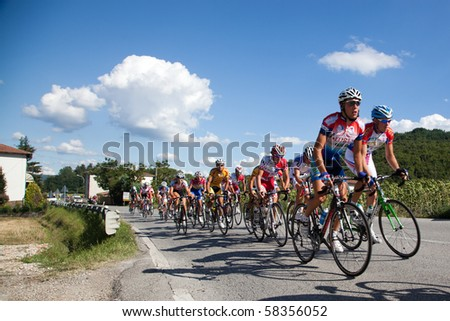 """LIPPIANO, PERUGIA, ITALY - JULY 31: Various Cyclists during the 41th """"Trofeo Tosco Umbro"""" on July 31, 2010 in Lippiano, Perugia, Italy - stock photo"""