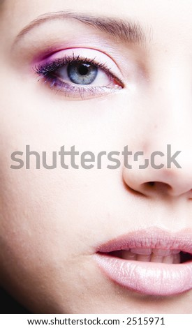 lips and eye close up
