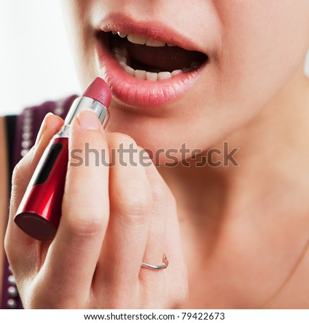 Lips and lipstick concept - stock photo