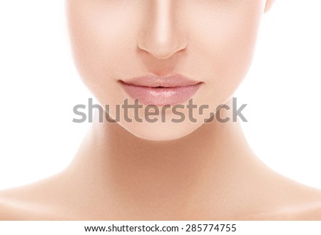 Lips and nose Woman happy young beautiful studio portrait with healthy skin - stock photo