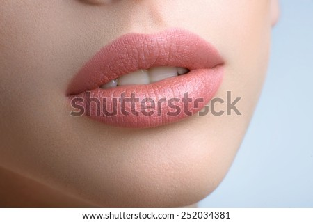 lips close up on a white background - stock photo