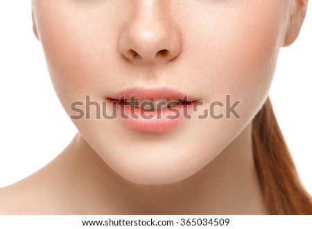 Lips nose chin cheeks Beauty face portrait  young beautiful woman isolated on white - stock photo