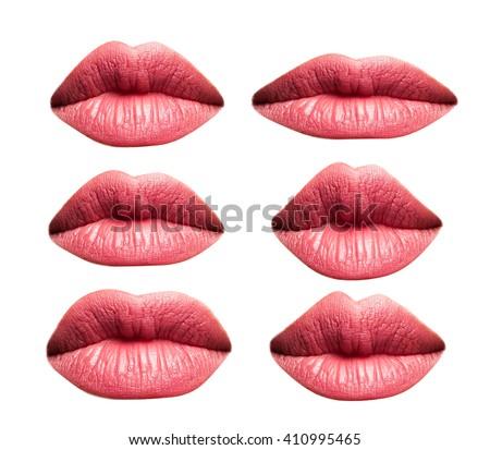 lips on white background - stock photo