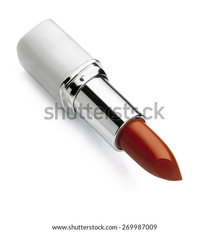 Lipstick against white background with a light shadow. Clipping path - stock photo