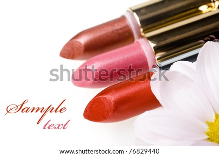 lipstick and flower - stock photo