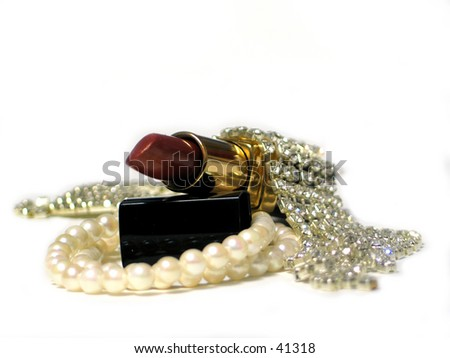 lipstick and jewlery - stock photo