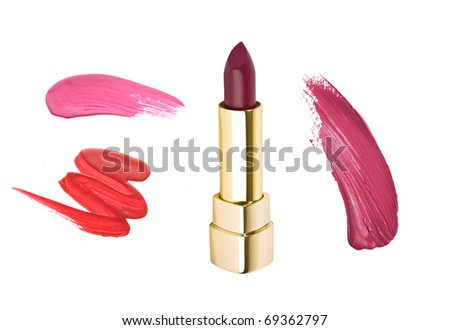 Lipstick and smudged red and pink samples isolated on white - stock photo