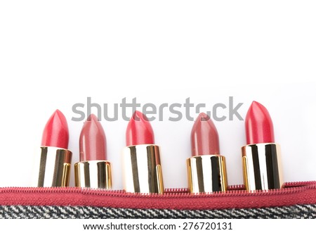 Lipstick for makeup your face on white background. - stock photo