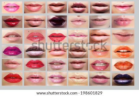 Lipstick. Great Variety of Women's Lips. Set of Colorful Mouths - stock photo