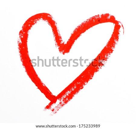 lipstick heart shape on white background - stock photo