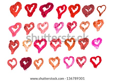 Lipstick heart strokes in many shades isolated on white background