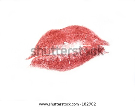 Lipstick kiss mark - stock photo