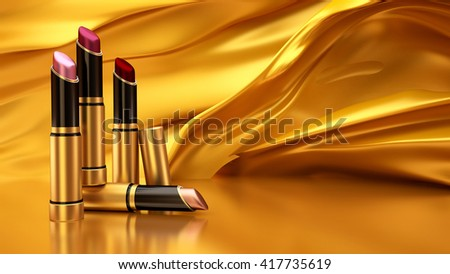 Lipstick on a background of flying gold cloth. The tube, bottle, style, makeup, lips, beauty, make-up, facials. Cosmetics. 3D rendering - stock photo