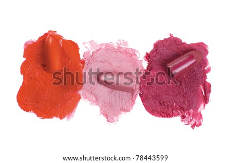 Lipstick on a white background for a make-up