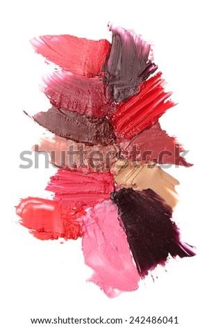Lipstick strokes isolated on white background - stock photo