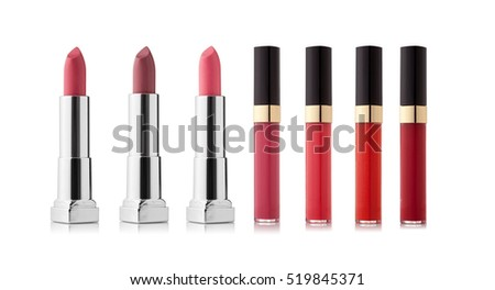 Lipstick variation on white background. Fashionable colors of the season
