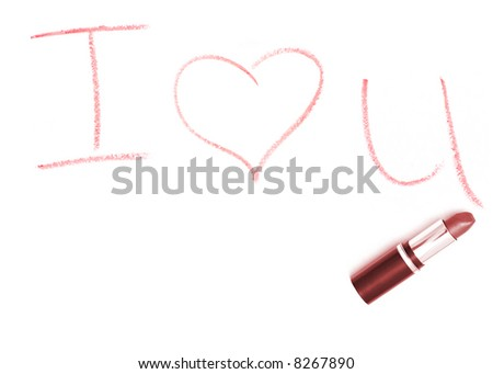 Lipstick with I Love You - stock photo