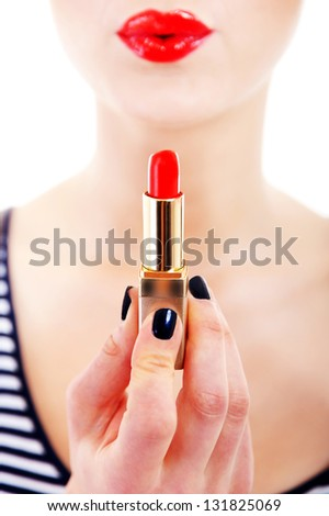 Lipstick with lips on white background - stock photo