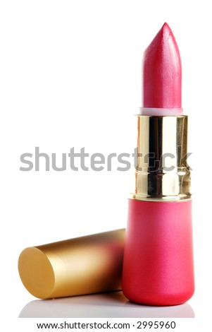 Lipstick with reflection on white