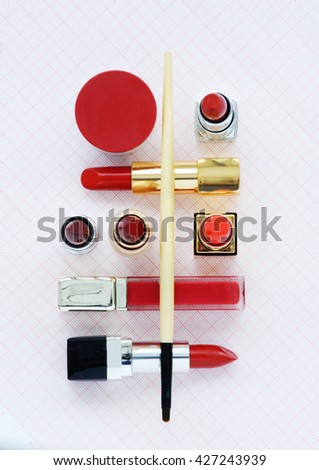 lipsticks composition with equipment for use them in pan - stock photo