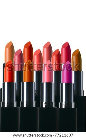Lipsticks isolated on a white background - stock photo