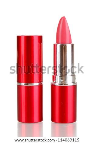 lipsticks isolated on white - stock photo