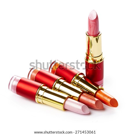 Lipsticks isolated on white background
