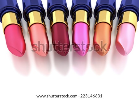 Lipsticks on white - stock photo