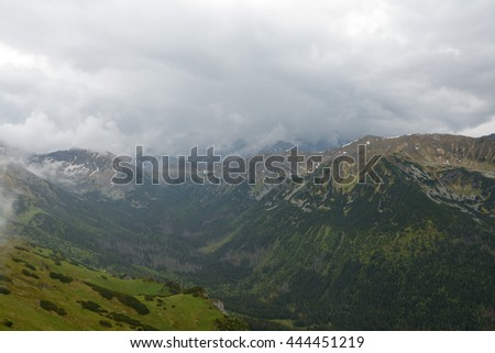 Liptowska valley, peaks and clouds in Tatra mountains nearby Zakopane in Poland
