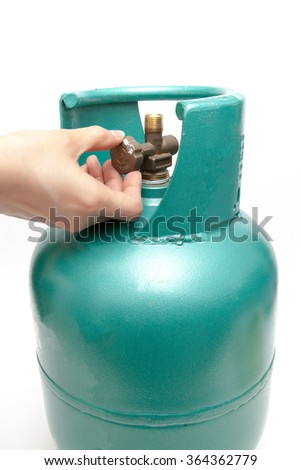 Liquefied Petroleum Gas cylinders on white background