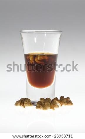 Liquer walnut - stock photo