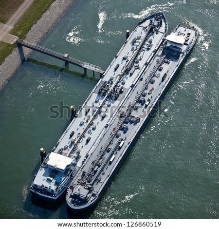 Liquid bulk harbor terminal - stock photo