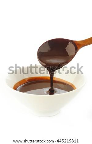 liquid chocolate in white dish - stock photo
