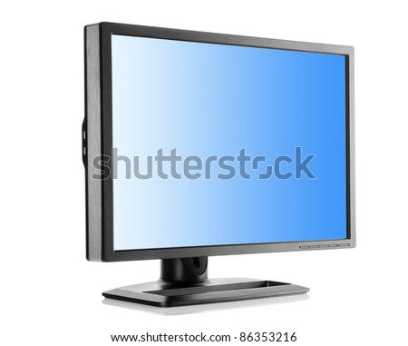 Liquid-crystal monitor isolated on a white background - stock photo