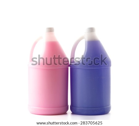 liquid detergent bottle on white background