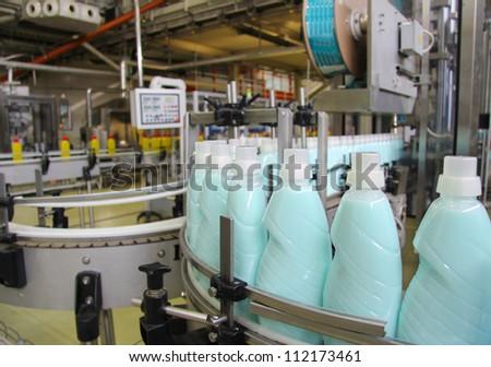 Liquid Detergent on Automated Production Line - stock photo
