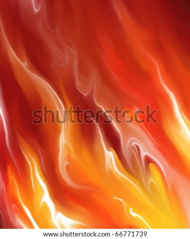 liquid fire and fiery flames background  illustration in dark hot red, orange, and yellow shades of color with smeary texture and darkened corners - stock photo