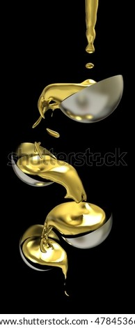 Liquid gold flow - stock photo
